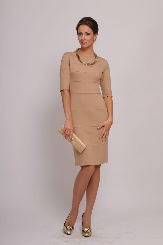 Красивое элегантное и модное женское коктейльное (клубное) платье купить Стильное бежевое платье без рукавов